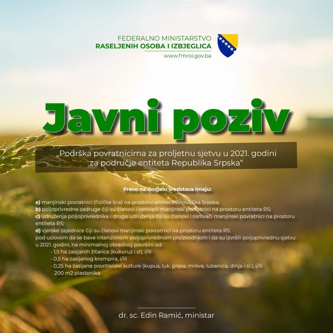 """JAVNI POZIV """"Podrška povratnicima za proljetnu sjetvu u 2021. godini za područje entiteta Republika Srpska"""""""