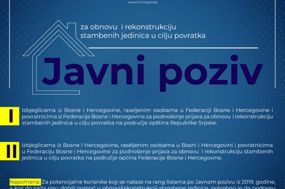 Javni poziv Izbjeglicama iz Bosne i Hercegovine, raseljenim osobama u Bosni i Hercegovini i povratnicima u Federaciju Bosne i Hercegovine za podnošenje prijava za obnovu i rekonstrukciju stambenih jedinica u cilju povratka na područje općina Federacije Bosne i Hercegovine